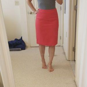 Bright pink wool pencil skirt
